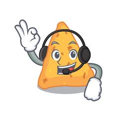 With headphone nachos mascot cartoon style vector