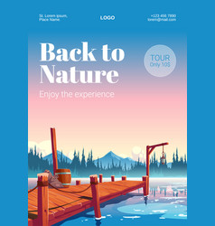 Wooden pier on lake with forest and mountains vector