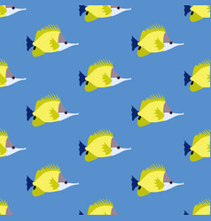 Yellow longnose butterflyfish seamless pattern vector