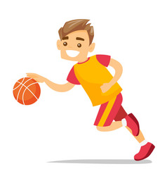 young caucasian white playing basketball vector image