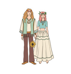 young hippie man and woman with long hair dressed vector image