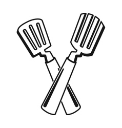 Crossed spatula icon in black style isolated on vector