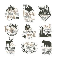 alaska national park labels set forest protection vector image vector image
