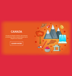 canada travel horizontal banner cartoon style vector image
