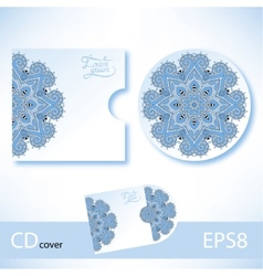 CD cover design template with blue colour vector image