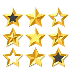 Gold stars set vector image vector image