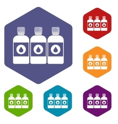 Printer ink bottles icons set vector image