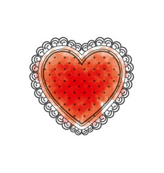 watercolor drawing of heart with decorative frame vector image vector image