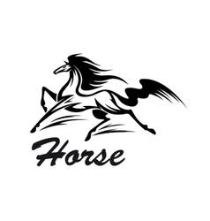 Equestrian riding club symbol with running horse vector image