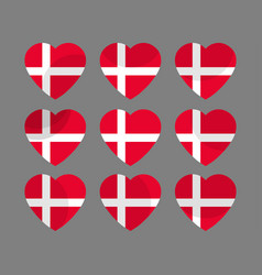 hearts with the denmark flag i love the denmark vector image vector image