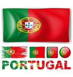 Portugal flag in different designs vector image vector image
