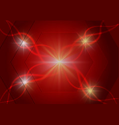 red hexagon and light technology abstract vector image vector image