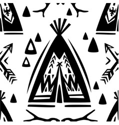 Seamless pattern with wigwams and arrows vector