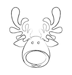 silhouette blurred cartoon funny face reindeer vector image vector image