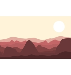 Silhouette of desert and rock landscape vector image