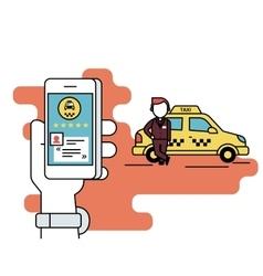 Booking taxi via mobile app vector image vector image