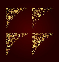 golden ornamental calligraphic corners vector image