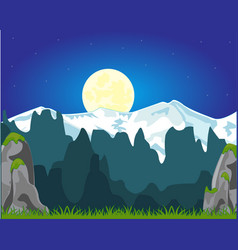Moon night and mountains vector