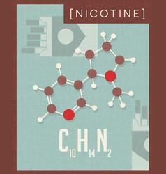 retro poster of nicotine molecule found in tobacco vector image