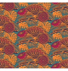 Seamless pattern with ornamental chameleons vector image vector image