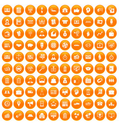 100 business group icons set orange vector image