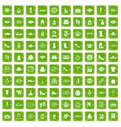 100 woman shopping icons set grunge green vector image