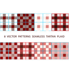 8 patterns seamless tartan plaid brown set vector