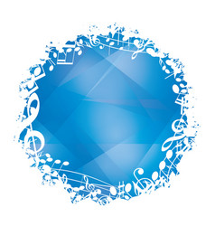 abstract blue background with round music frame vector image