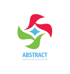 abstract concept logo design petal leaves cross vector image