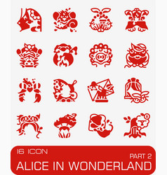Alice in wonderland icon set vector