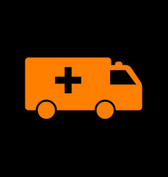 ambulance sign orange icon on black vector image