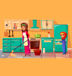 arab mother daughter cleaning together vector image