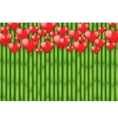 Bamboo background with red hearts vector