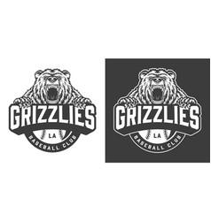 baseball club ferocious bear mascot logo vector image