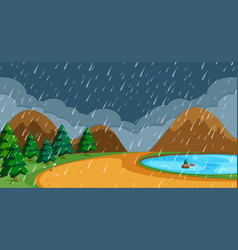 Beach in rainy season vector