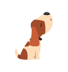 Beagle dog howling cute funny animal cartoon vector