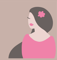 beautiful asian woman abstract flat vector image
