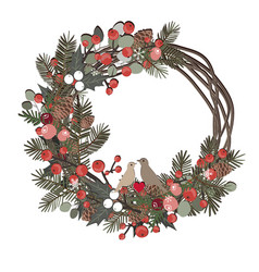 beautiful christmas decorative wreath vine and vector image