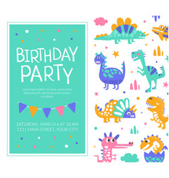 birthday party card template bashower vector image