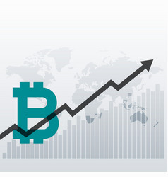 Bitcoin upward growth chart design background vector