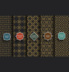 black and gold seamless islamic patterns set vector image