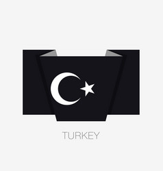 black turkish flag with white crescent and star vector image