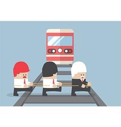 Business leader crossing railroad vector image