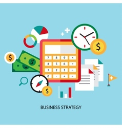 Business strategy planning icon flat set with vector image