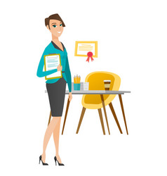 Business woman holding clipboard with documents vector