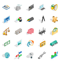 Cabling icons set isometric style vector