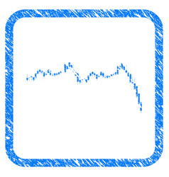 Candlestick graph falling acceleration framed vector