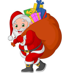 cartoon santa claus carrying a sack of gifts vector image