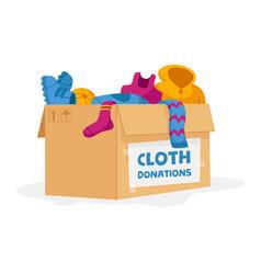 Cloth donation and charity concept carton box vector
