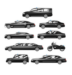 collection of premium black executive cars vector image
